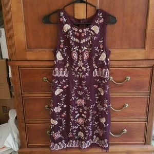 Anthropologie Floral Beaded Plum Shift Net Dress